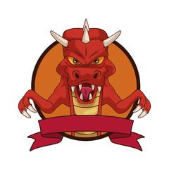 Dragon videogame character cartoon icon vector illustration graphic design
