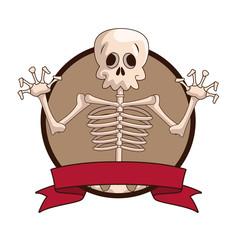 Skull videogame character cartoon icon vector illustration graphic design
