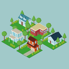 Isometric town 3d on blue background vector illustration graphic