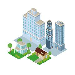 Isometric city 3d icon vector illustration graphic design