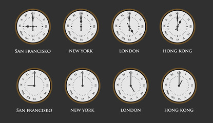Set of world time zone clock with roman numerals. Vector illustration