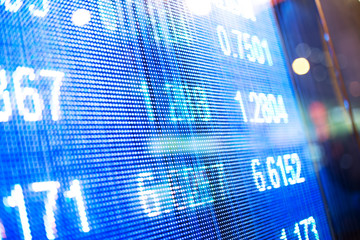 digital screen on stock market