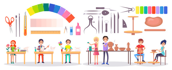 Students, Art Supplies and Stationery Illustration