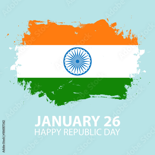 India happy republic day january 26 greeting card with brush stroke india happy republic day january 26 greeting card with brush stroke in colors of the m4hsunfo