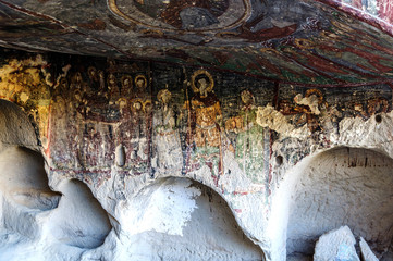 Interior of the cave church with early ortodox christian fresco Forty Sons in Law Church Kirkdamalti Kilise Guzelyurt, Ihlara Valley, Cappadocia, Turkey UNESCO