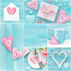 Valentine's Day collage of photos in pink and blue pastel colours with romantic decorations, hearts, gifts and flowers. With copyspace for your text