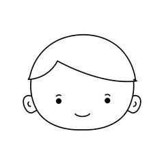 line avatar boy face with hair