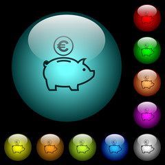 Euro piggy bank icons in color illuminated glass buttons