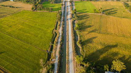 Aerial view from drone flight Irrigation canal