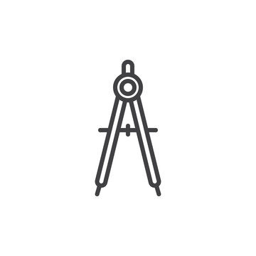 Geometry compass line icon, outline vector sign, linear style pictogram isolated on white. Drawing compass symbol, logo illustration. Editable stroke