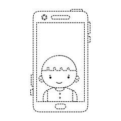 dotted shape smartphone technology with boy person communication