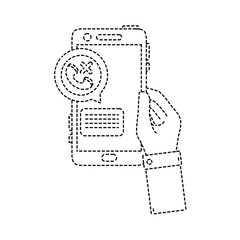 dotted shape hand with smartphone and lost call message