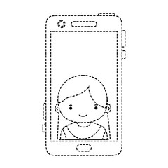 dotted shape smartphone technology with girl person communication