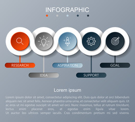 Infographicfor cycle diagram business concept with 5 options