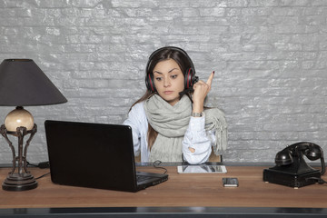 the secretary in the call center is tired of giving help