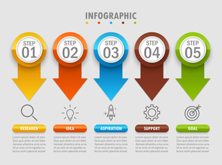 Business Infographic arrow modern five step