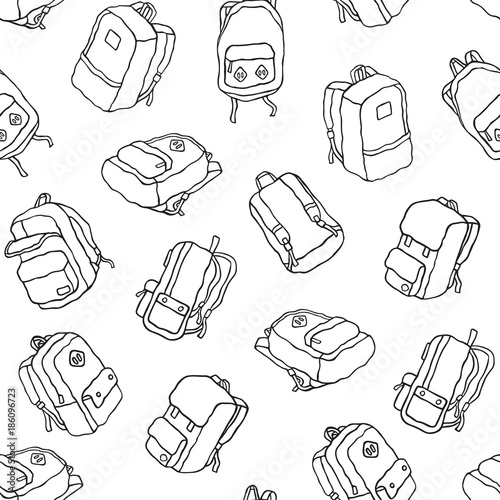 08415dd40b Backpack seamless pattern travel bag school bag doodle vector isolated  wallpaper background white