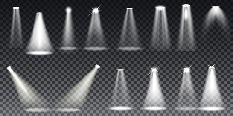 Scene illumination collection. Bright lighting with spotlights. Vector transparent effects.