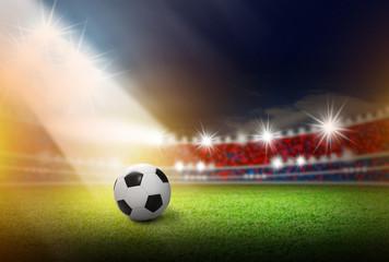 Football on soccer stadium with light