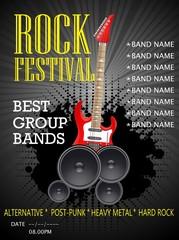 Rock festival banner design template with guitar. Vector illustration