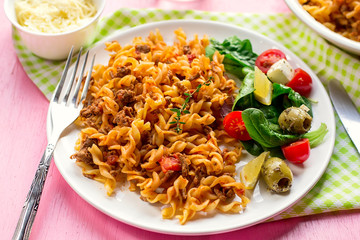 Pasta fusilli with ground beef and tomato sauce