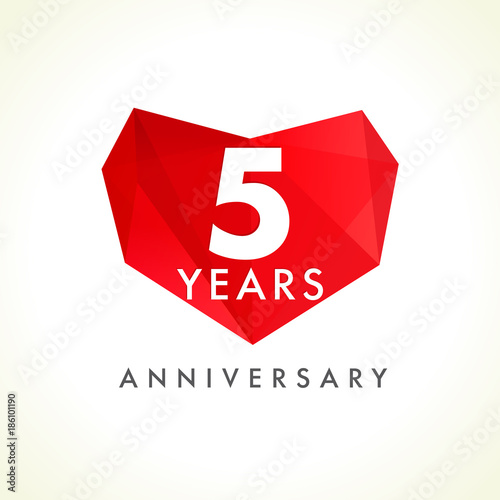 5 Years Anniversary Heart Logo Template Emblem Of 5th Years