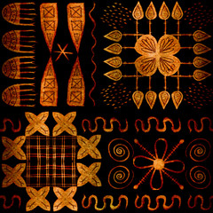 African tribal aborigines painting. Geometric seamless patterns. Brown background