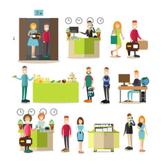 Hotel people vector flat icon set