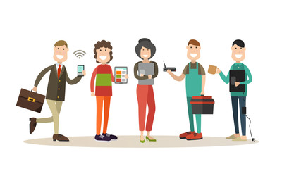 Internet people flat vector icon set