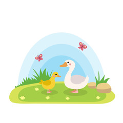 Farm animals with landscape - cute cartoon vector illustration with duck and duckling