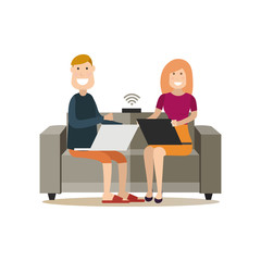 Internet people flat vector illustration