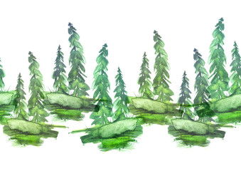 Watercolor seamless linear border, drawing - forest landscape, spruce, pine, slope. green on a white background.