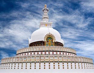 Shanti Stupa (Peace Pagoda) in Leh, Jammu and Kashmir state, India.