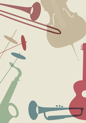 Jazz Poster. Set of musical instruments typical of jazz music