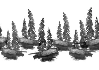 Watercolor seamless linear border, drawing - forest landscape, spruce, pine, slope. Black and white painting, Indian ink, watercolor.