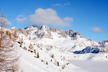 Almost empty ski slopes in Dolomites, Italy, Europe.