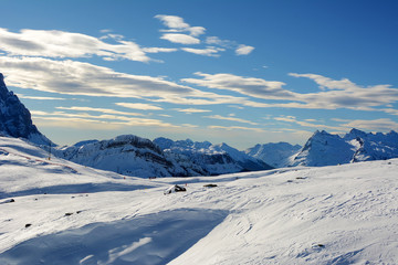 Almost empty ski slopes in Dolomites, Italy, Europe.