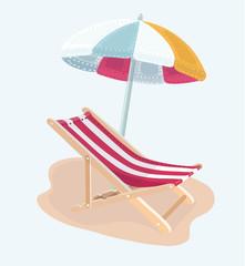 Chair and beach umbrella vector