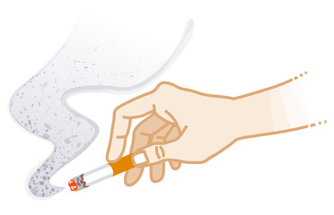 Hand holding a Cigarette - Smoking risk concept art
