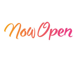 Orange and pink gradient isolated hand writing word NOW OPEN