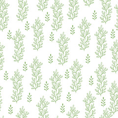 Green herbs seamless pattern. Scandinavian background. Nature style.