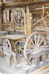 Old repair shop in log cabin