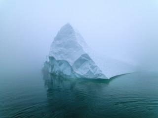 Printed kitchen splashbacks Glaciers Icebergs in foggy day on Arctic Ocean in Greenland