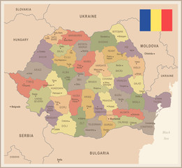 Romania - vintage map and flag - Detailed Vector Illustration