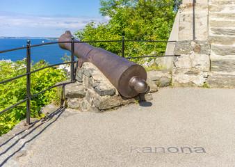 Alte Kanone auf dem Aksla in Alesund, Norwegen