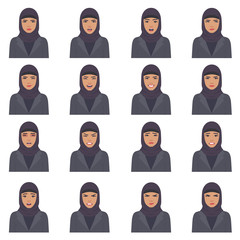 vector illustration of a arabic face expressions, set of a different muslim face expression, cartoon  arab character, saudi avatar