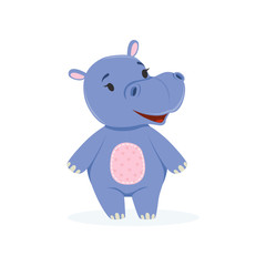 Funny baby hippo character, cute behemoth African animal vector Illustration