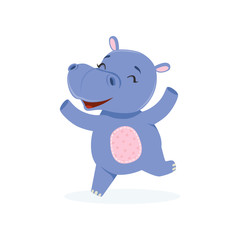 Funny happy baby hippo character jumping, cute behemoth African animal vector Illustration