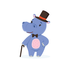 Funny baby hippo character wearing top hat and bow tie standing with cane, cute behemoth African animal vector Illustration