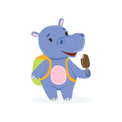Funny baby hippo character with backpack eating ice cream, cute behemoth African animal vector Illustration